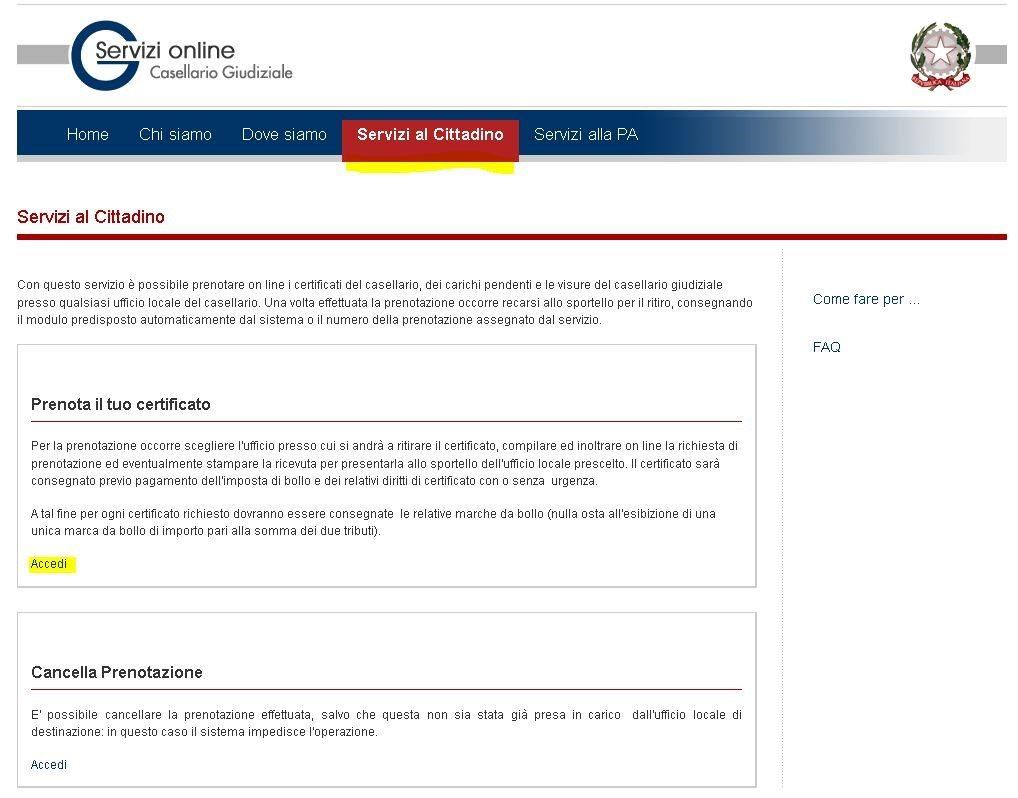 Richiesta Casellario Giudiziale Online